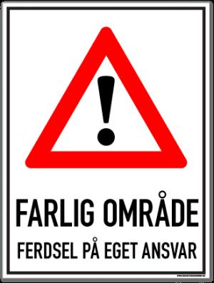 farlig område skilt