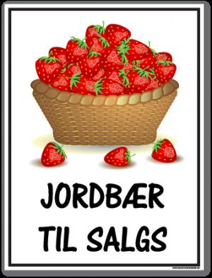 skilt jordbær til salgs