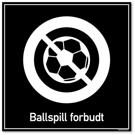 ballspill forbudt skilt