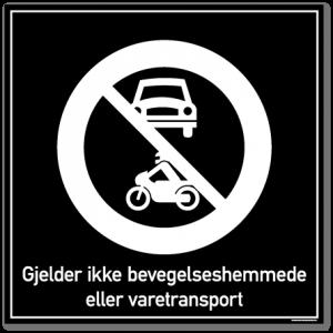bevegelshemmede og varetransport skilt