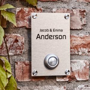 dørskilt med ringeknapp aluminium