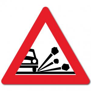 Trafikkskilt Steinsprut 112