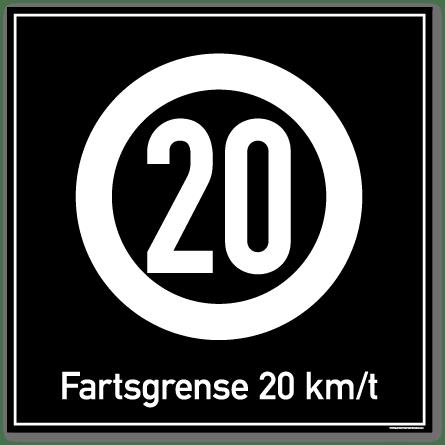 Fartsgrense 20 kmt skilt