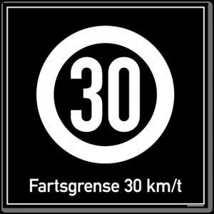 Fartsgrense 30 kmt skilt