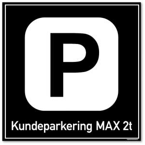 Kundeparkering max 2t skilt