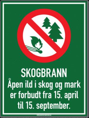 skogbrann skilt