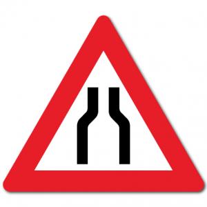 Trafikkskilt Smalere veg 106-1