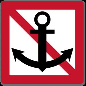 farvannsskilt ankring forbudt som viser at det er forbudt å ankre i nærheten