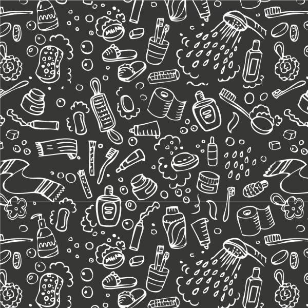 Illustrert kvadrat med frostet vindusfolie. På vindusfolien er det tegninger av baderomsartikler som tannbørste, dusjhode, kremer osv.