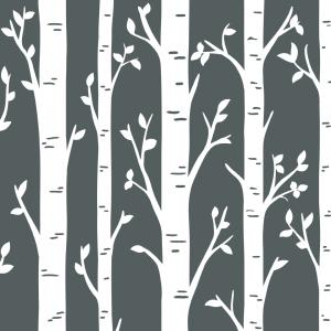 Kvadrat med vindusfolie. Illustrerte bjørketrestammer.