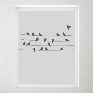 Vindu med frostet vindusfolie. Fugler som sitter på en trå.