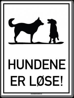 skilt som forteller at hundene er løse