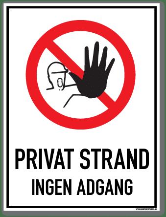 Privat strand skilt