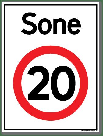 Sone 20 skilt