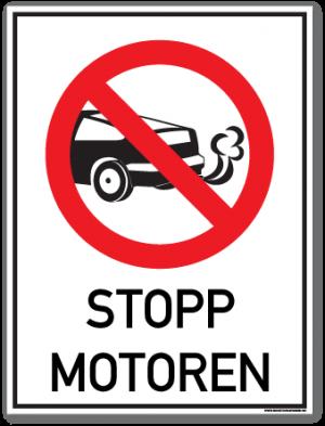 Stopp motoren skilt