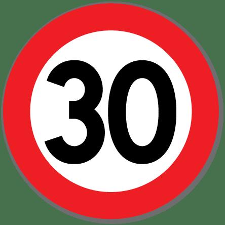 Trafikkskilt Fartsgrense 30 km/t