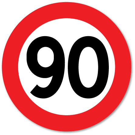 Trafikkskilt Fartsgrense 90 km/t