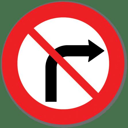 Trafikkskilt Svingeforbud høyre 330.1