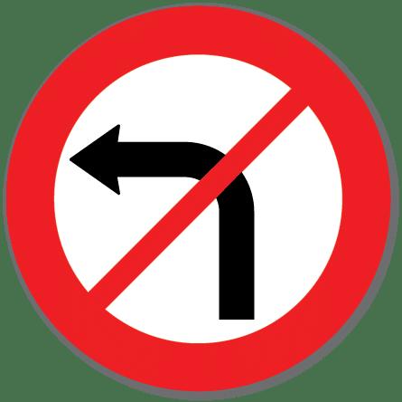 Trafikkskilt Svingeforbud venstre 330.2