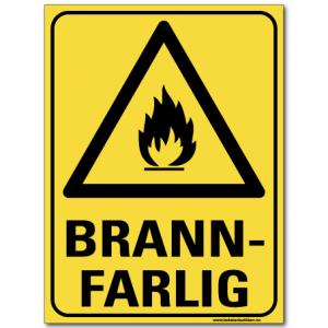 hms skilt Brannfarlig