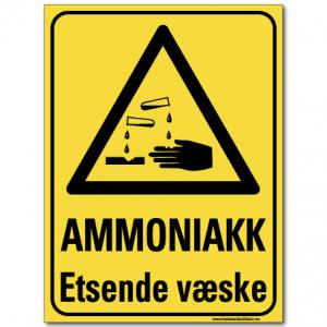 HMS advarsel ammoniakk etsende væske
