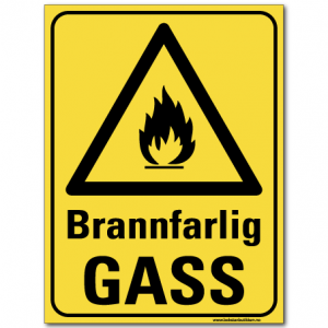 hms skilt Brannfarlig gass