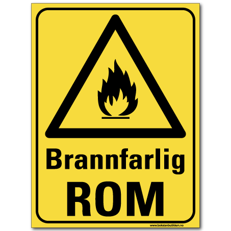 hms skilt Brannfarlig rom