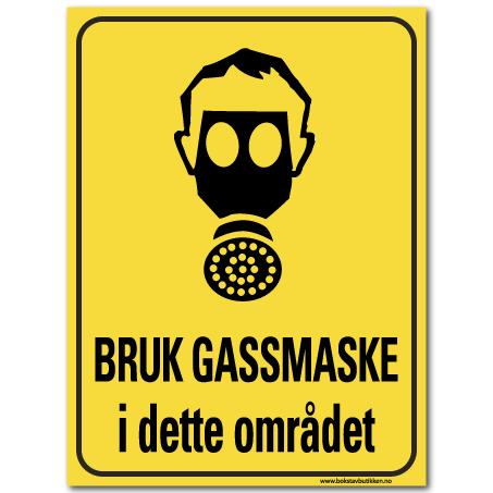 HMS advarsel bruk gassmaske