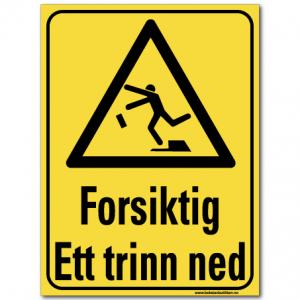 hms advarsel forsiktig ett trinn ned