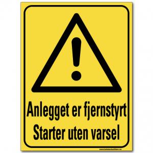 hms advarsel skilt anlegget er fjernsyrt