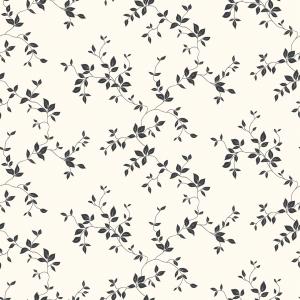 Grafisk visning av en vindusfolie. Folien har et organisk mønster med voksende blader i sort/ hvit.