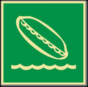 sikkerhetsskilt fallende livbåt