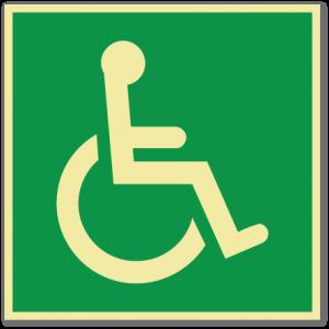 sikkerhetsskilt med symbol for rullestol