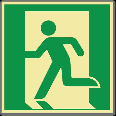 sikkerhetsskilt nødutgang til venstre