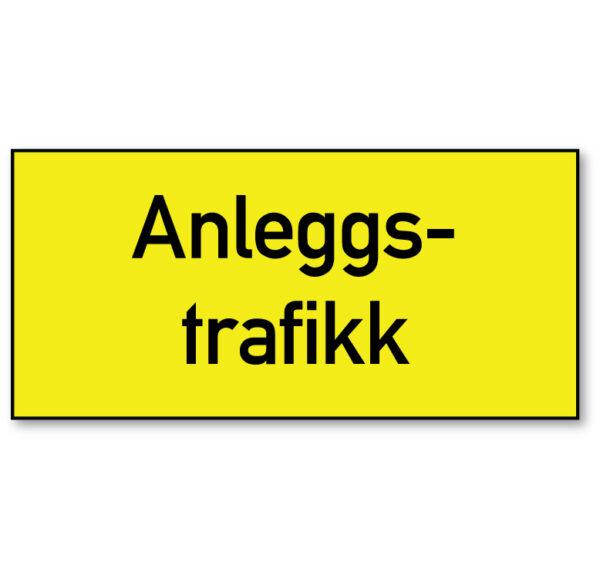 Arbeidsvarsling skilt som advarer mot anleggstrafikk