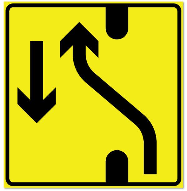 Arbeidsvarsling skilt som forteller at det er endret kjøremønster