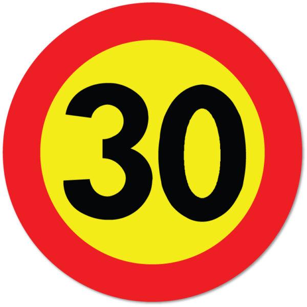 Arbeidsvarsling skilt som forteller at fartsgrensen er 30 km/t
