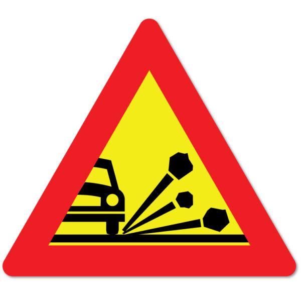 Arbeidsvarsling skilt som forteller at det kan være fare for steinsprut
