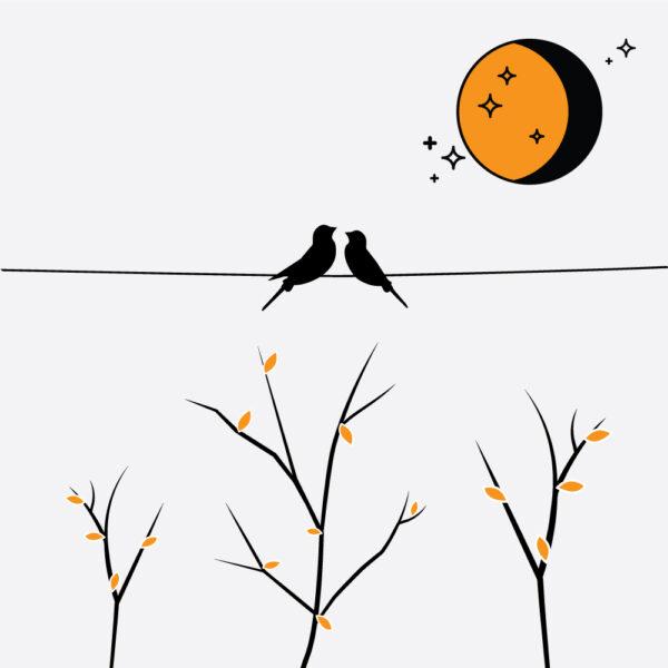 vindusfolie med to fugler og måne