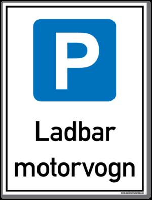 parkeringsskilt som forteller at det kun er parkering for ladbar motorvogn