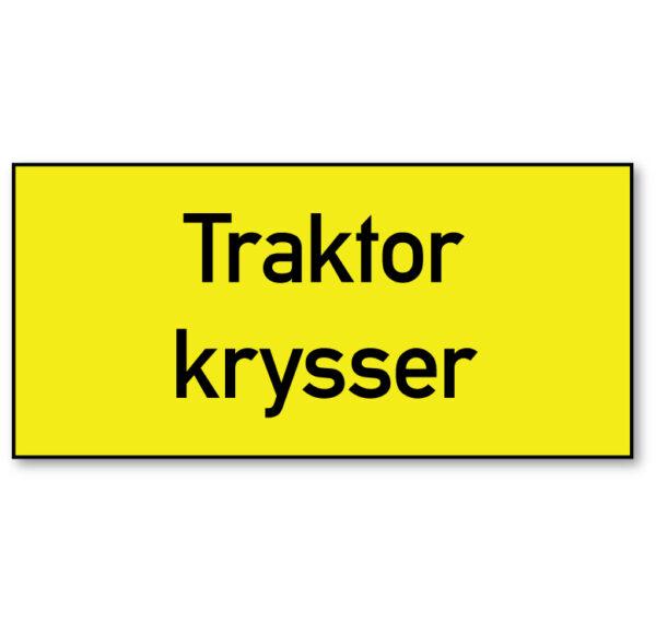 Arbeidsvarsling skilt som informerer om at traktor krysser